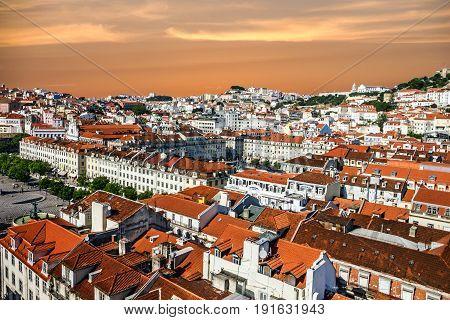 Rossio square architecture (Praca de Rossio), Portugal