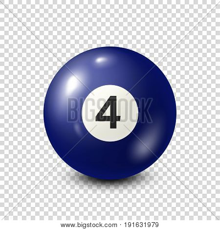 Billiard, blue pool ball with number 4.Snooker. Transparent background.Vector illustration.