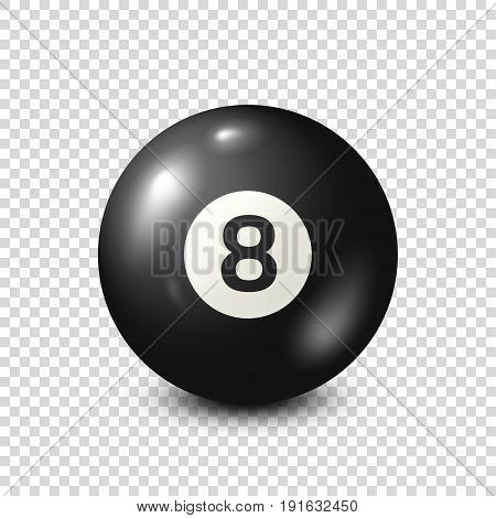 Billiard, black pool ball with number 8.Snooker. Transparent background.Vector illustration.