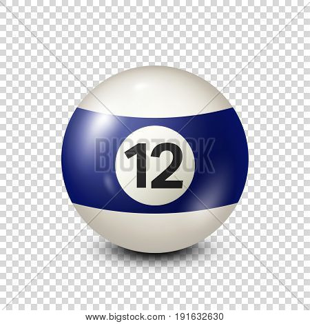 Billiard, blue pool ball with number 12.Snooker. Transparent background.Vector illustration.
