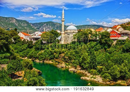 Mostar old town and river, Bosnia and Herzegovina