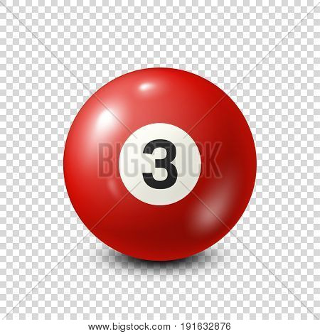 Billiard, red pool ball with number 3.Snooker. Transparent background.Vector illustration.