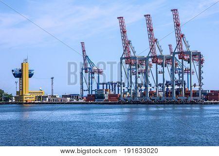 Odessa, Ukraine - May 30, 2017: Port cranes in sea port Odessa, Ukraine