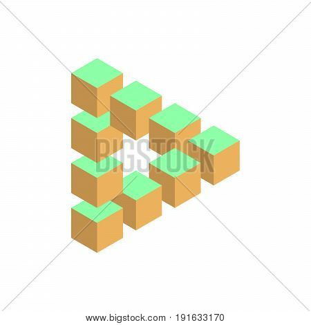 Impossible triangle in three different colors. 3D cubes arranged as geometric optical illusion. Vector illustration.