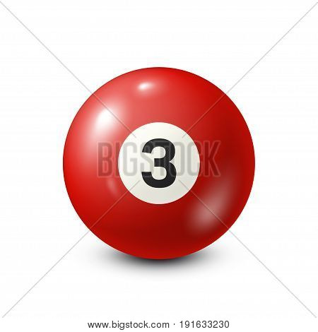 Billiard, red pool ball with number 3.Snooker. White background.Vector illustration.