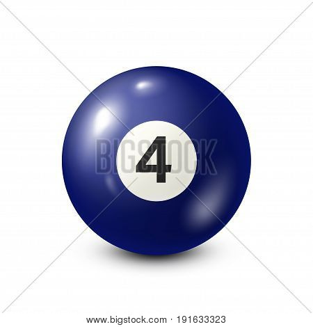 Billiard, blue pool ball with number 4.Snooker. White background.Vector illustration.