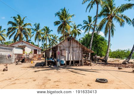 Ambatozavavy Nosy Be Madagascar - December 19 2015: Typical malagasy village - african beach hut poverty in Nosy Be Madagascar.