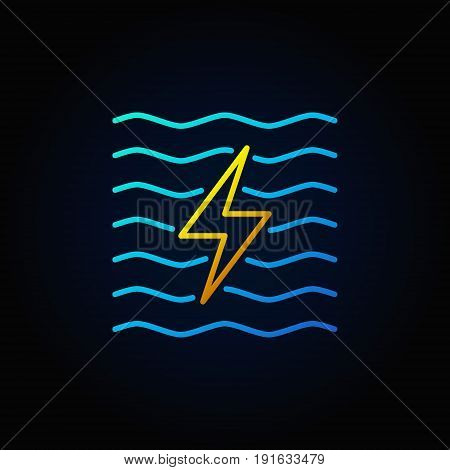 Hydroelectricity minimal colorful icon - vector water energy concept sign or logo element in thin line style on dark background