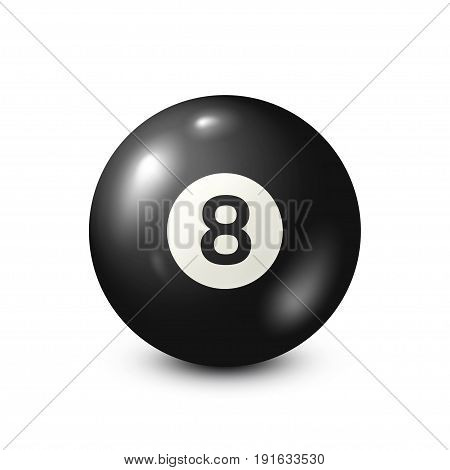 Billiard, black pool ball with number 8.Snooker. White background.Vector illustration.