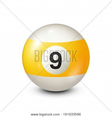 Billiard, yellow pool ball with number 9.Snooker. Transparent background.Vector illustration.