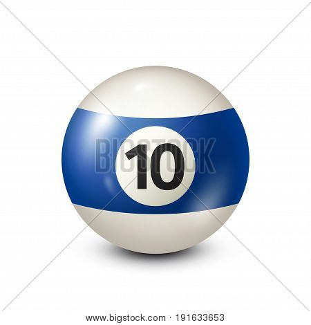 Billiard, blue pool ball with number 10.Snooker. Transparent background.Vector illustration.