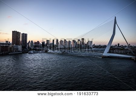 Erasmus Bridge sunset view in Rotterdam, Holland, Netherlands