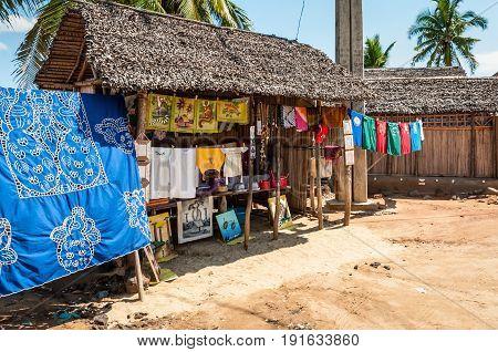 Ambatozavavy Nosy Be Madagascar - December 19 2015: Souvenir shop along the road in Africa Nosy Be Island Madagascar.