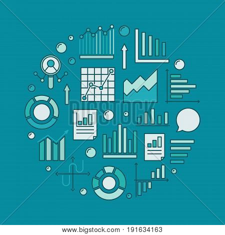 Analytics round illustration - vector analysis and statistics circular concept sign with graphs and charts on blue background