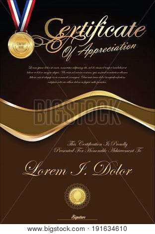 Certificate Or Diploma Retro Vintage Template 4.eps