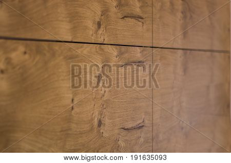 Wooden texture of the kitchen cabinet door, was made from walnut veneer. Wood knots. Wooden surface.