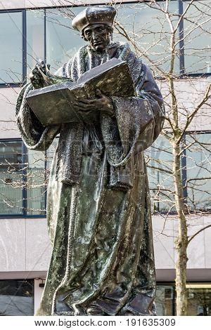 Rotterdam, Netherlands - May 7, 2017: Monument to Erasmus of Rotterdam, Netherlands (Desiderius Erasmus Roterodamus)