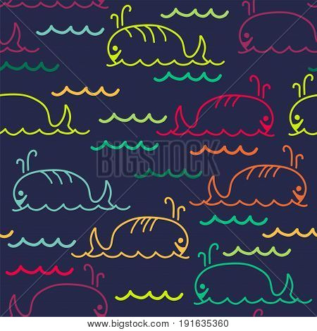 vector abstract sea background with seamless pattern of cartoon whales