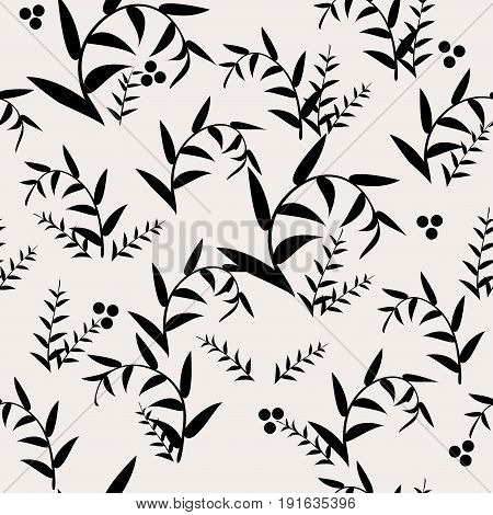 Vector abstract background with seamless leaves pattern