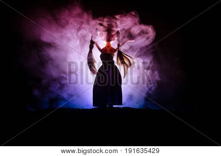 Mysterious Woman, Horror Scene Of Scary Ghost Doll Woman On Dark Blue Background With Smoke