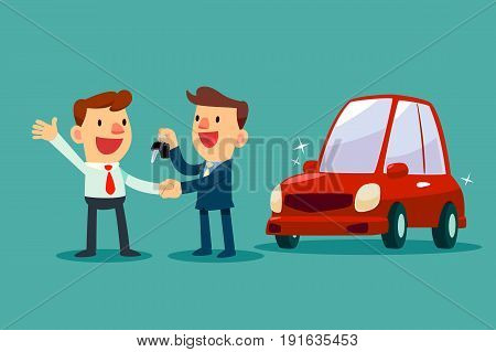 Car salesman give a handshake and new car key to businessman. Car sale. Auto business concept.