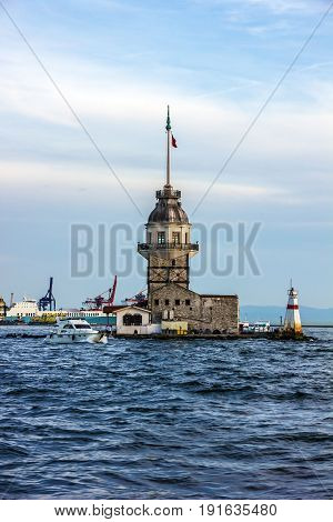 The Maiden's Tower sea scape in Istanbul, Turkey