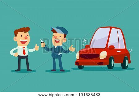 Auto mechanic give a key of repaired car back to his customer. Car service concept.
