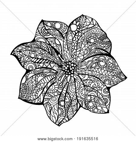 Flower vector illustration Black white hand drawn doodle. Ethnic pattern. African, indian, totem, design. Sketch for tattoo, adult antistress coloring page, poster, print, t-shirt. Lotus seven petals