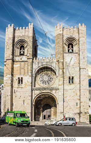 Lisbon, Portugal - May 7, 2017: Cathedral church Se (Santa Maria Maior de Lisboa), Portugal