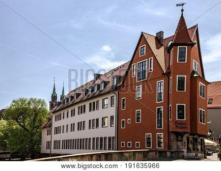 NUREMBERG, GERMANY - MAY 21 2017: Nuremberg historical house Bavaria, Germany
