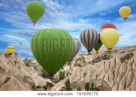 Hot air balloons in Cappadocia,  Goreme, Turkey