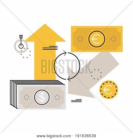 Currency exchange, money converting flat vector illustration design for mobile and web graphics
