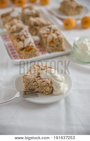 home made apricot cake with sweet streusel
