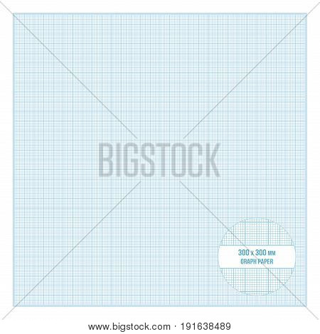 Vector blue printable metric graph paper 30x30 cm size 1mm grid accented every centimeter