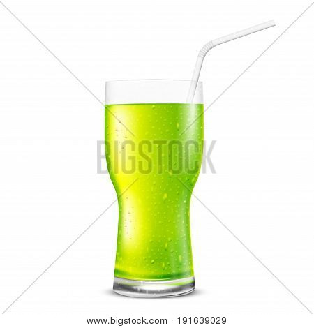 Green fresh glass with drink - juice, cocktail or tea. Vector illustraton