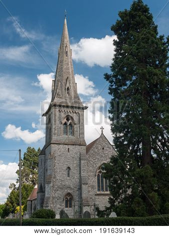 Lovely Grey Brick Church Outside In England In The Country Misley England Uk