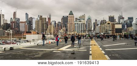 New York NY. USA - May 29 2017. View from the flight deck of the USS Kearsarge Fleet Week New York City
