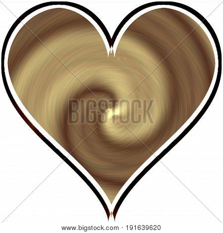 Creamy delicious coffee nougat spiral design of abstract ivory heart decoration