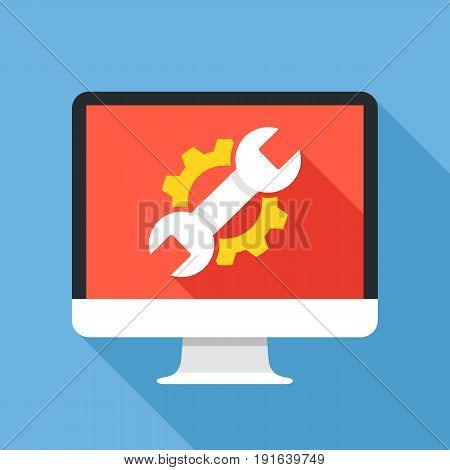 Computer with cog and wrench. Repair icon. Maintenance, repair service, settings, fixing concepts. Flat design vector illustration