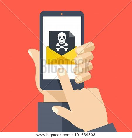 Hand holding smartphone with received envelope with black document and skull icon. Email fraud, virus, malware, e-mail spam, phishing concept. Flat design graphic with long shadow. Vector illustration