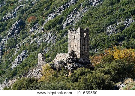 Ruined tower house in the area of Mani in Peloponnese, Greece