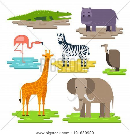 Set of African animals on the pieces of land vector flat design. Giraffe, elephant, Nile crocodile, hippopotamus, zebra, flamingos, African white-backed vulture. Animals to infographic design.