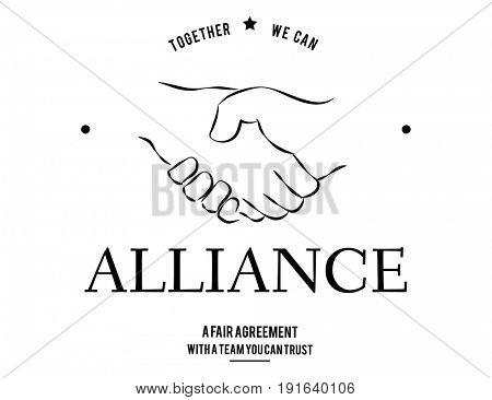 Alliance Partnership Teamwork Support Handshake Graphic
