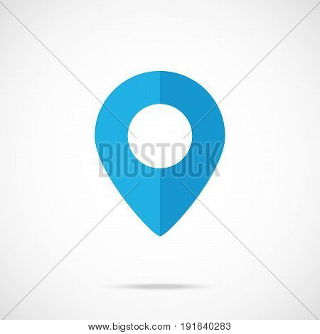 Vector blue map pointer, map pin icon. Modern flat design vector illustration concept for web banner, mobile app, web site, printed materials, infographics. Vector icon isolated on gradient background