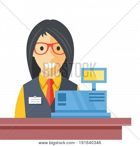 Cashier woman at checkout counter. Counter desk, cash register, till and smiling happy female clerk. Creative checkout concept. Modern flat vector illustration isolated on white background