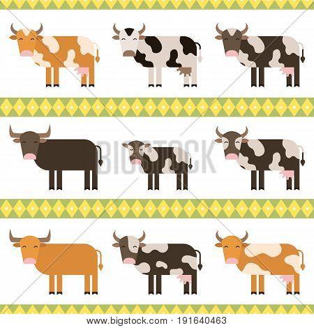 Cows, bulls and calf flat vector illustration