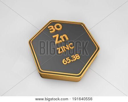 Zinc - Zn - chemical element periodic table hexagonal shape 3d render