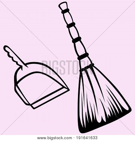 broom and dustpan vector silhouette isolated on background