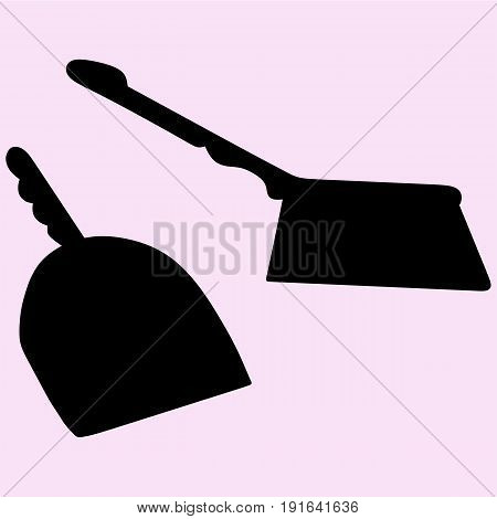 dustpan and sweeping brush vector silhouette isolated