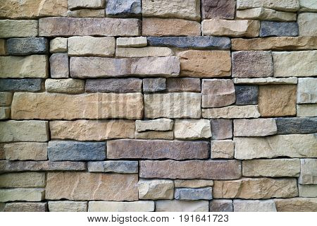 Stone Blocks Wall Made from Irregular Sized Stone Blocks, for Abstract Background